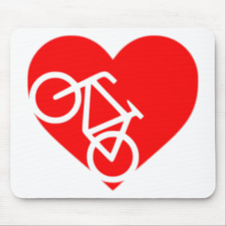 heart bicycle cutout mouse pad