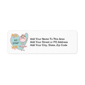 Heart Big Sister Return Address Label