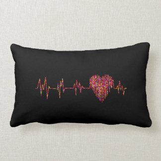 heart bit rainbow rectangular cushion