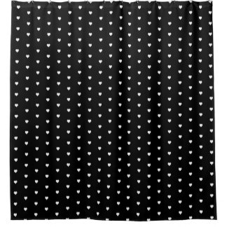 Heart Black and White Shower Curtain