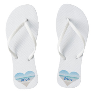 Heart Bride Wedding Flip Flops Beach Sandals