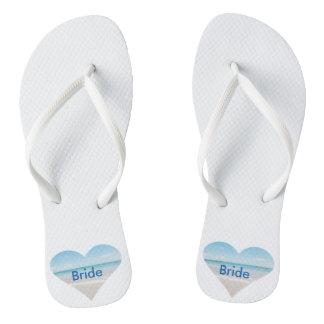 Heart Bride Wedding Flip Flops Beach Sandals