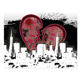 Heart Broken City Living Grunge Postcard