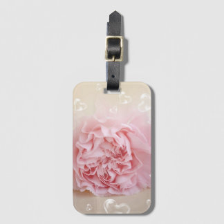 heart bubbles on pink blossom bag tag