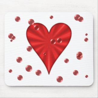 Heart & Bubbles (White) Mouse Pad