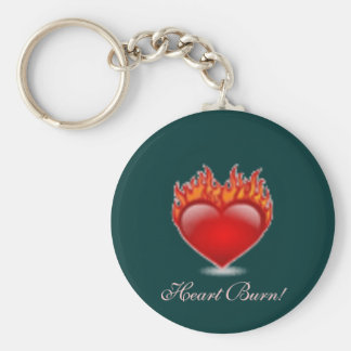 Heart Burn! Basic Round Button Keychain