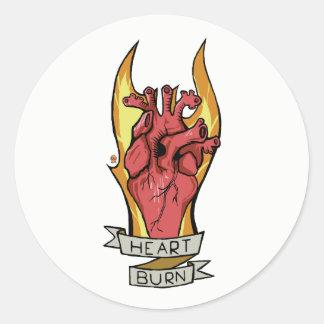Heart burn round sticker