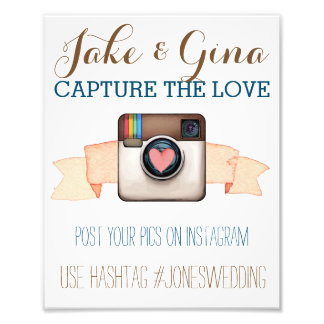 Heart Camera Instagram Watercolor Hashtag Poster