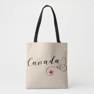 Heart Canada Grocery Bag, Canadian Flag Tote Bag