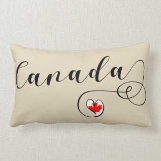 Heart Canada Pillow, Canadian Flag Lumbar Pillow