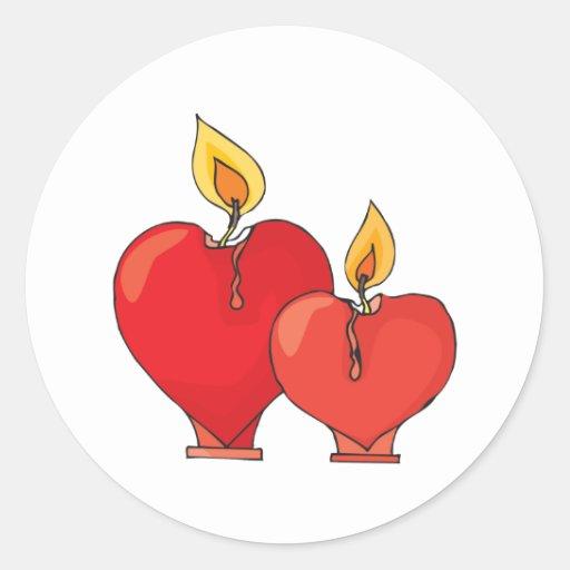 Heart Candles Round Sticker