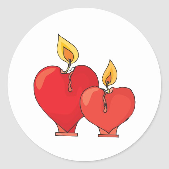 Heart Candles Round Sticker