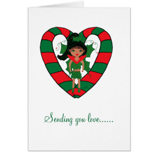 Heart Candy Cane Greeting Card