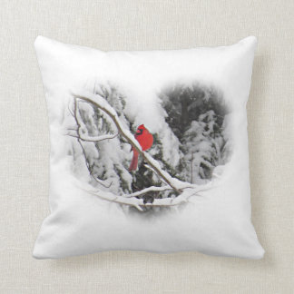 Heart Cardinal Throw Pillow