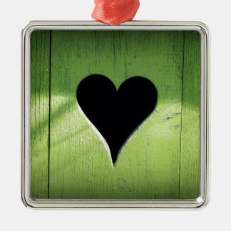 Heart Carved from Bright Green Wooden Door Metal Ornament