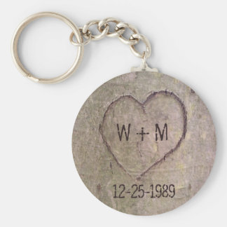 Heart Carved in a Tree Customizable Keychain