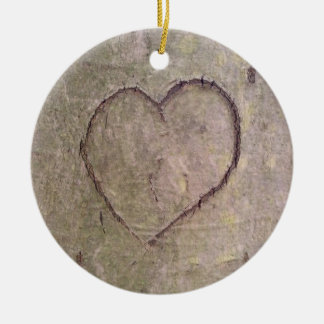Heart Carved in a Tree Round Ceramic Ornament