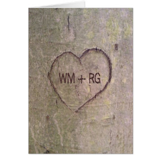 Heart Carved in Tree Wedding Invitation Card