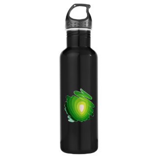 Heart Chakra Green on Black Water Bottle