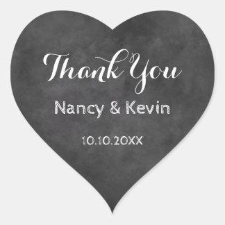 Heart chalkboard wedding thank you stickers