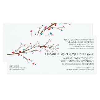 Heart Cherry Blossom Wedding Invitation