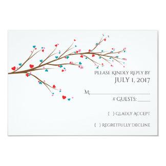 Heart Cherry Blossom Wedding RSVP Card