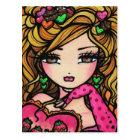 Heart Chocolate Candy Mermaid Fantasy Art Girl Postcard