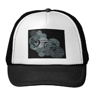 Heart clefs, music notes + silver grey polka dots trucker hat