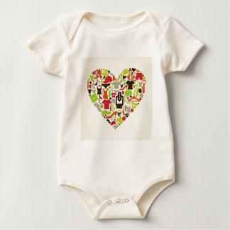 Heart clothes2 baby bodysuit