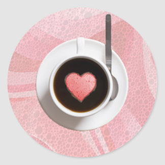 HEART COFFE CUP by SHARON SHARPE Classic Round Sticker