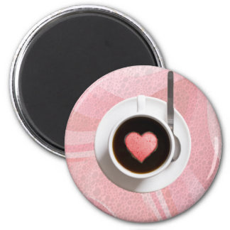 HEART COFFE CUP by SHARON SHARPE 2 Inch Round Magnet