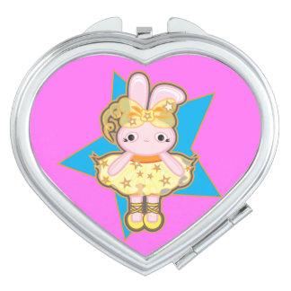 Heart Compact mirror with dancer rabbit