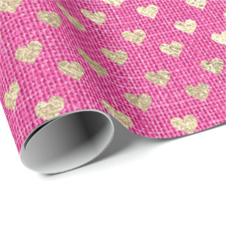 Heart Confetti Gold Foxier Vivid Pink Rose Linen Wrapping Paper