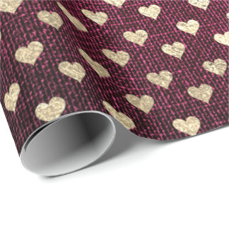 Heart Confetti Metallic Burgundy Red Gold Linen Wrapping Paper