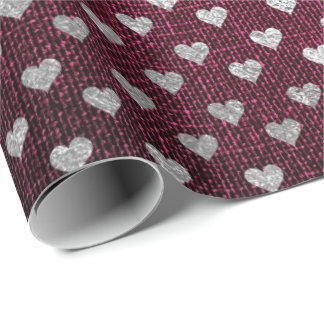 Heart Confetti Metallic Burgundy Red Silver Linen Wrapping Paper