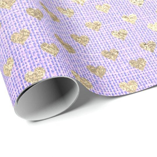Heart Confetti Metallic Purple Gold Foxier Linen