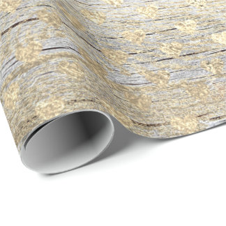 Heart Confetti Metallic Shabby Gold Wood Foxier Wrapping Paper