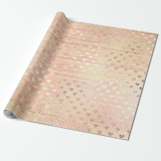 Heart Confetti Metallic Shabby Gold Wood Pink Rose Wrapping Paper