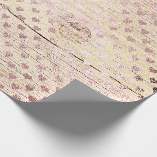 Heart Confetti Metallic Shabby Gold Wood Rose Pink Wrapping Paper