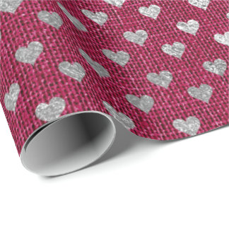 Heart Confetti Raspberry Burgundy  Pink Rose Linen Wrapping Paper