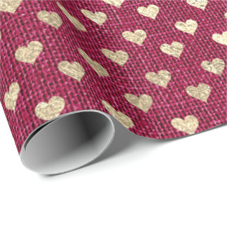 Heart Confetti Raspberry Gold Rubin Rose Linen Wrapping Paper