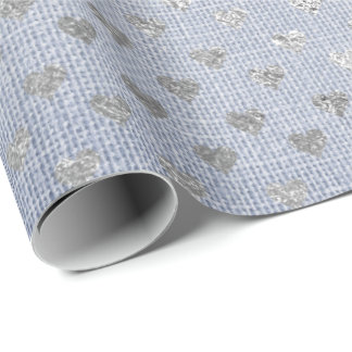Heart Confetti Silver Gray Blue Jeans Linen Wrapping Paper