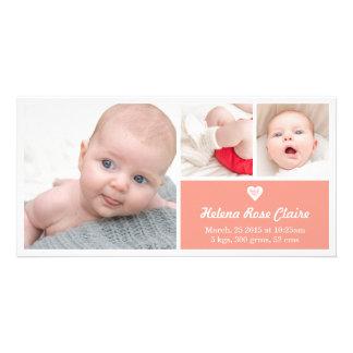 Heart Coral Birth Announcement Photo Card