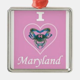 Heart Crab Silver-Colored Square Ornament