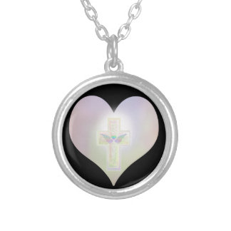 Heart Cross Angel Wings Silver Plated Necklace