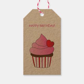 Heart Cupcake Happy Birthday Gift Tags