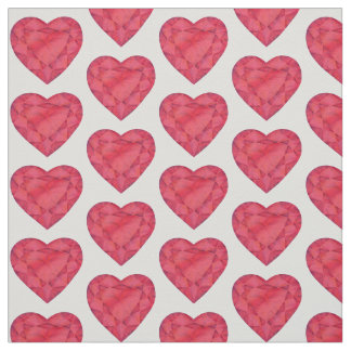 Heart cut red ruby watercolor art fabric