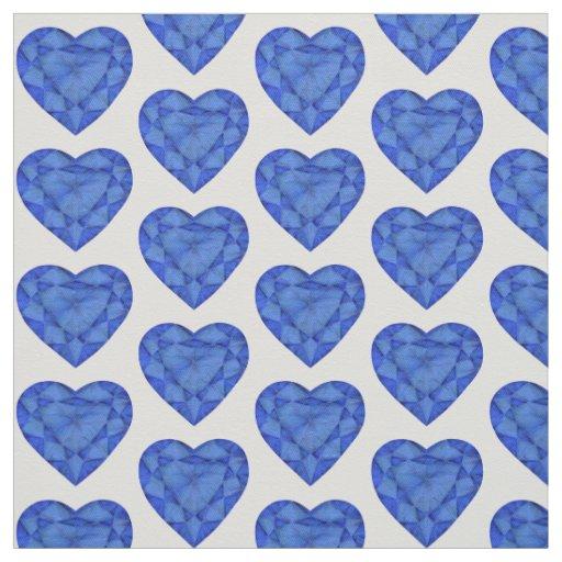 Heart cut sapphire watercolor art fabric