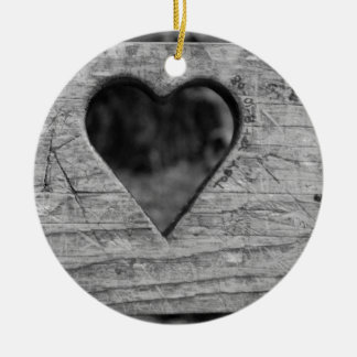 Heart cutout in wood round ceramic ornament