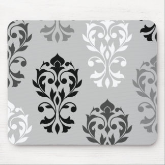 Heart Damask Art I Black Greys White Mouse Pad